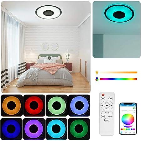 60W enceinte plafond bluetooth luminaire plafonnier Plafond Télécommande + Téléphone APP LED avec Haut-parleur Bluetooth lumiere led pour chambre plafonnier salon luminaire plafonnier (60W)