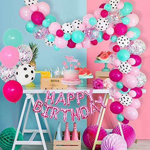 """AYUQI Globos de Cumpleaños Niña Kit arco de Globos Rosa y Azul, 60 piezas Globos de Confeti lunares de Blancos para fiesta de Cumpleaños Decoración, con 16"""" Happy Birthday Banner, Mantel, Cake Topper"""