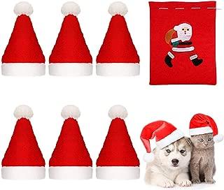 Beiabang 6 Pcs Dog Cat Pet Santa Hat Christmas Pet Costumes Santa Hat Pet Christmas Photo Props with a Christmas Drawstring Gift Bag for Puppy Kitten Small Cats Dogs