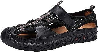 Sandales pour Hommes, Chaussures De Plage en Cuir pour L'extérieur, Sandales Baotou Faites À La Main, Antidérapantes Et Ré...