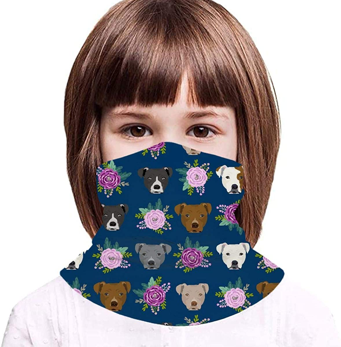 Pitbull Floral Head Design Pitbulls Floral Dog Head Kids Face Mask Dust Sun UV Protection Neck Gaiter Balaclava Face Cover Scarf Summer Breathable for Cycling Fishing Outdoors
