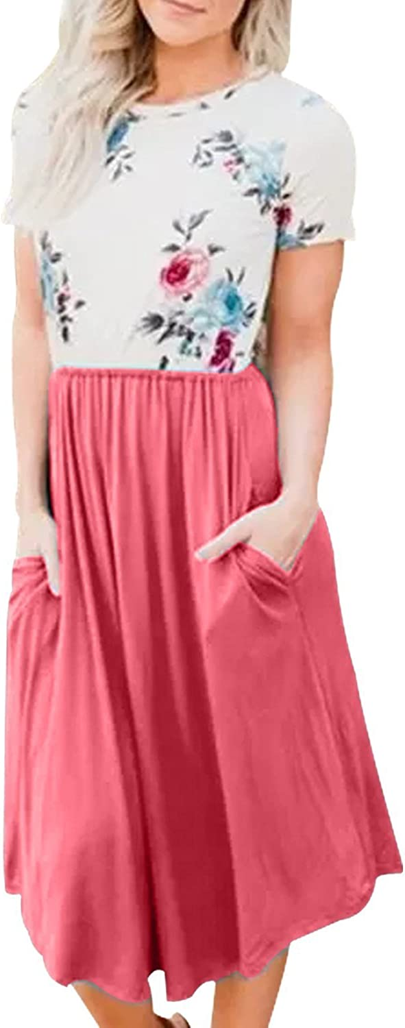 Yidarton Women Summer Short Sleeve Floral Print Patchwork Casual Pleated Midi Dress with Pockets