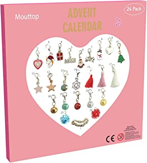 Mouttop Advent Calendar,Charm Bracelet DIY 23Charms with 1 Bracelet Fashion Jewelry Christams Advent Calendars for Kids(2018 Pink) (pink1)