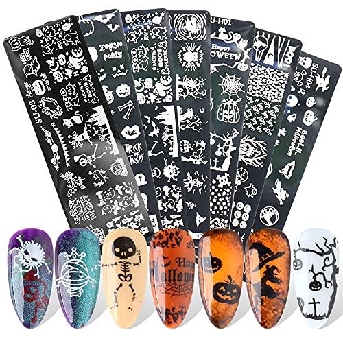7Pcs Halloween Stamping Art Nail Plate Nail Plaque de Stamping Manicure Pedicure Kit Modèle d'image Skull Geometry Animal Travel Theme Manucure Imprimer
