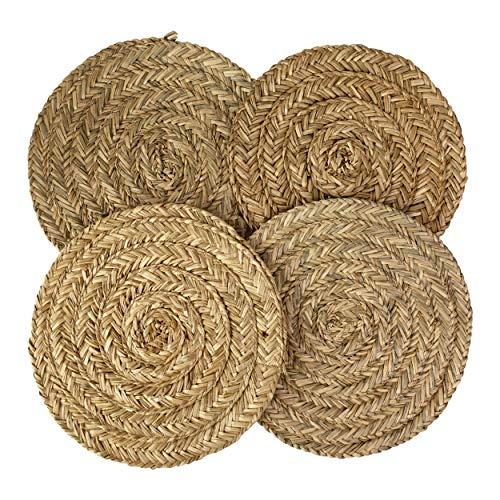 Juego de 4 manteles individuales de tejido para mesa de comedor,alfombra trenzada natural,hecha a mano,de mimbre de junco maritimo,resistente al calor,con almohadilla antideslizante,Round Natural