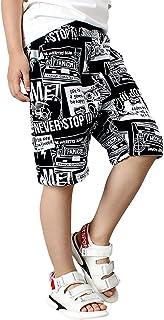 Rolanko Boys Athletic Shorts Jersey, Boys Basketball Shorts for Activewear Soccer SweatShorts Kids Summer Clothes (Black W...