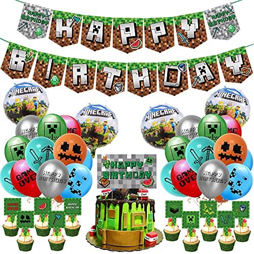 Zsroot Juego de accesorios de fiesta de vídeo, decoración de fiesta de juegos, decoración de cumpleaños, accesorios de fiesta de vídeo, pancarta de cumpleaños, globos para mineros de juegos