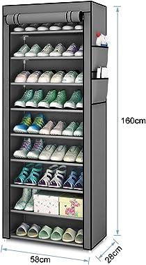 10 niveaux Armoire à chaussures Étagère à chaussures non tissée assemblée à dix couches Meuble à Chaussures Rangement de chau