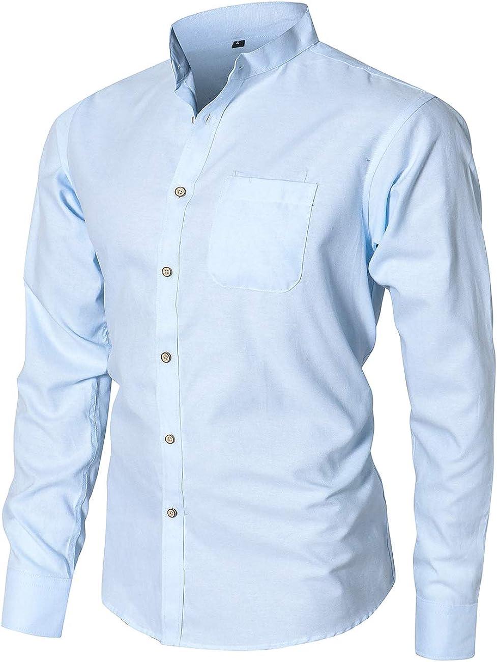 Dioufond Banded Collar Shirts Cotton Oxford Mandarin Collar Shirts for Men