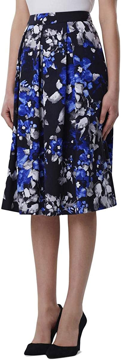 TAHARI Womens Blue Floral Knee Length Pleated Wear to Work Skirt Size 12P