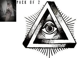 Novu Ink The Eye Temporary Tattoos | PACK OF 2 | Fake Tattoos | Art Design Transfers/Stickers | For Body, Arm, Leg etc | (10cm x 10cm)