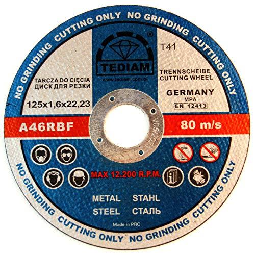 50 discos de corte prémium de 1,6 mm para acero, metal, acero...