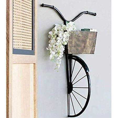 Handicraft Studio SH Studio Wrought Iron Cycle Wall Hanging for Books, Decorative Flowers & Daily Items - (Black, Medium)