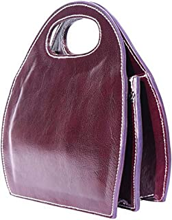 FLORENCE LEATHER MARKET Borsa Viola semiovale a Mano in Pelle donna 25x9x29 cm - Made in Italy