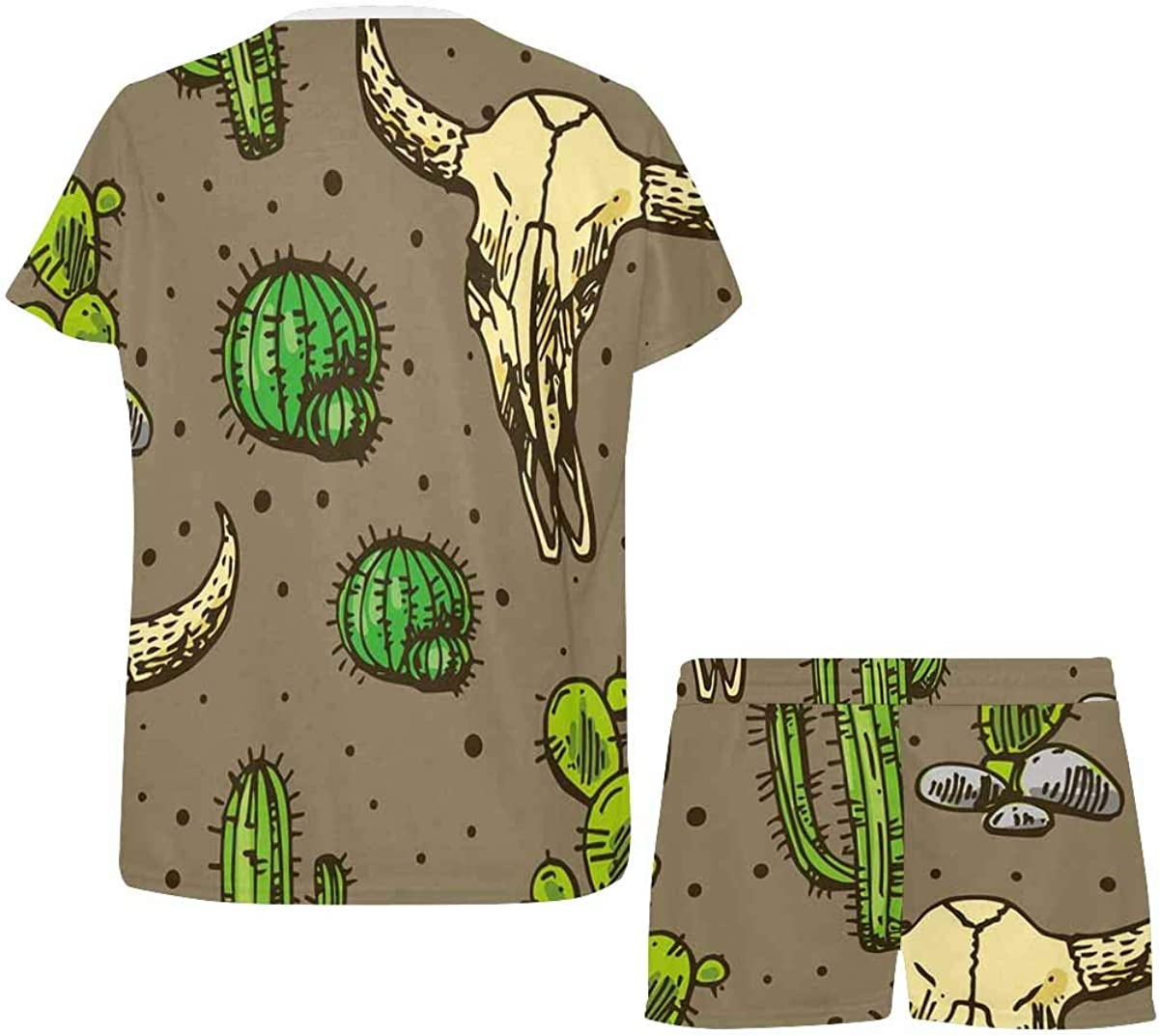 INTERESTPRINT Cactus and Skull of Bull Women's Pajamas Short Sets Round Neck Short Sleeve Sleepwear