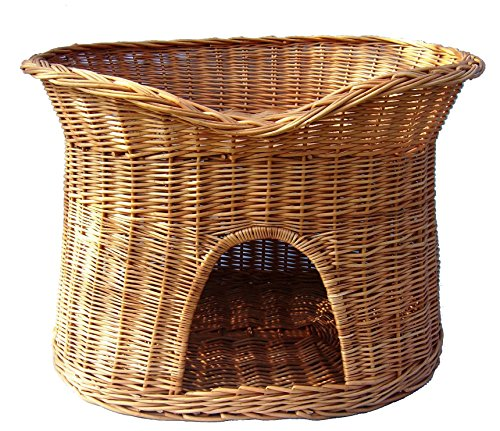 Floranica - 2 Sizes (L, XL) Wicker Cat Tower Two Tier Bed Basket House + cushions, organic willow product, made in the EU, Size:XL (70x50x50 cm), Cushion color:without cushions