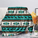CLOHOMIN Dream Catcher Horse Breathable Soft Throw Blanket Aztec Native American Couch Blnket Navajo in Green Indian Tribal Print Bed Blanket Machine Washable Bed Couch Cover