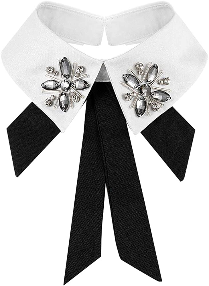 CHARMGIRL Women Girls Fake Collar Detachable Lapel Rhinestone Crystal Pearl Blouse False Collar Choker Neck Bow Tie