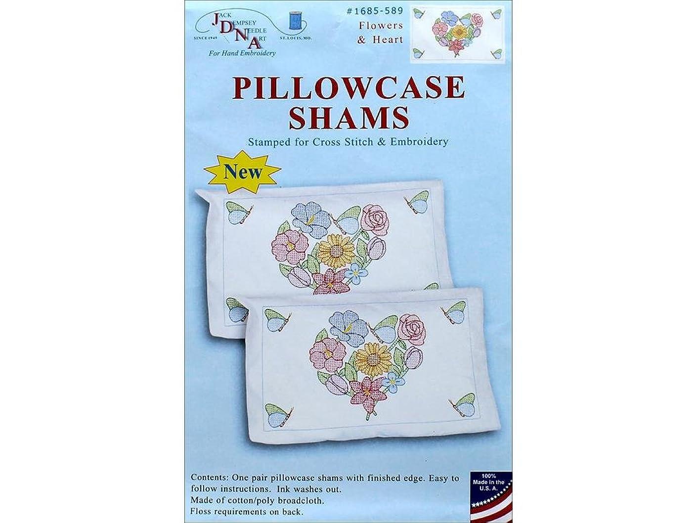 Jack Dempsey JDN1685.589 Pillowcase Sham Flowers & Hearts Pillowcase Sham Flowers&Hearts