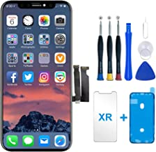for iPhone XR Screen Replacement, LCD Display and 3D Touch Screen Digitizer Replacement Frame Assembly with Protector and ...