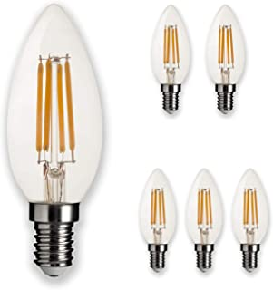 LEDesign 800268, B10 Candle LED Vintage Filament Light Bulbs, Dimmable, 4.5W (