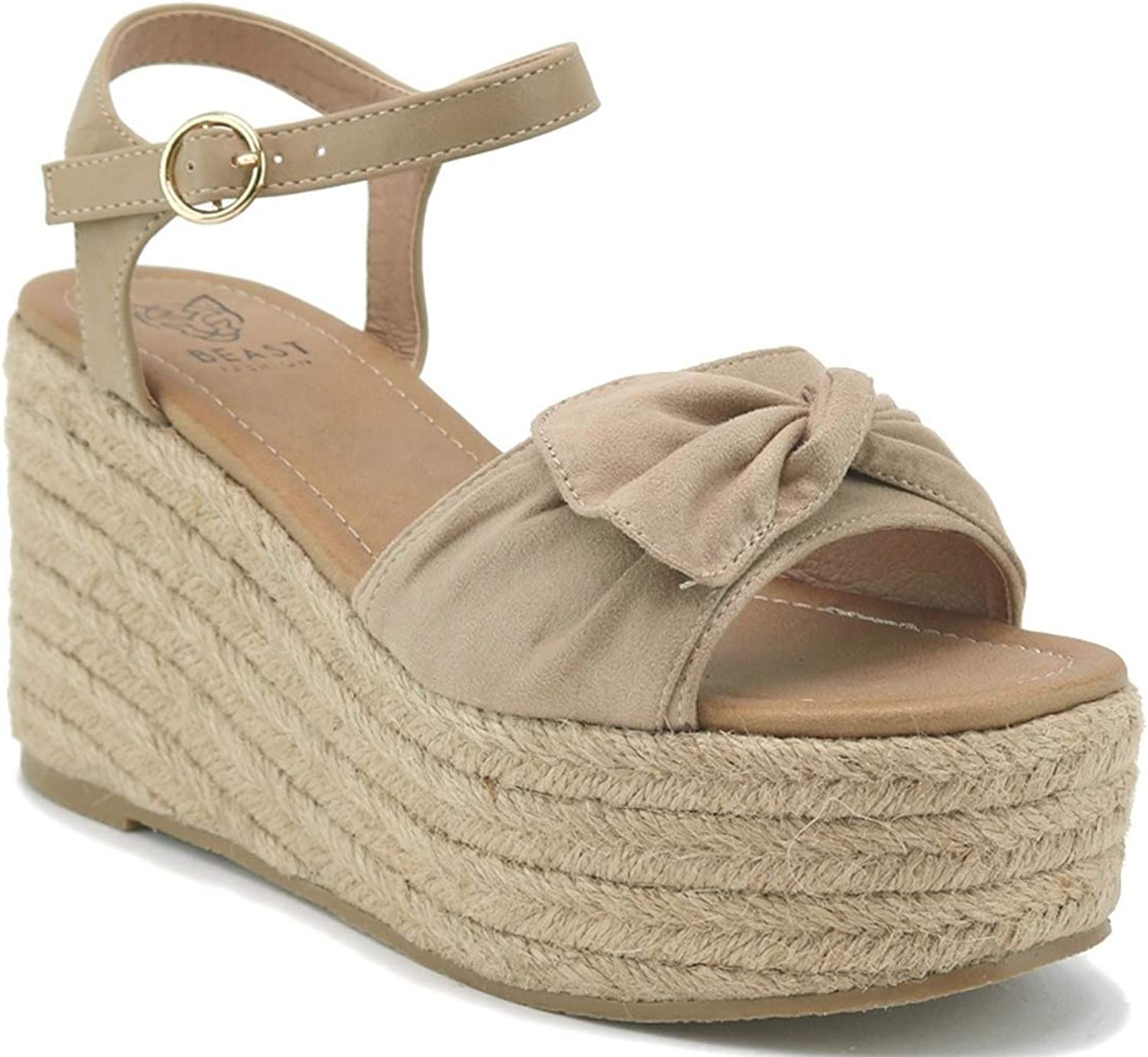 Beast Fashion Nell-01 Suede Bow Open Toe Espadrille Platform Wedge Sandal