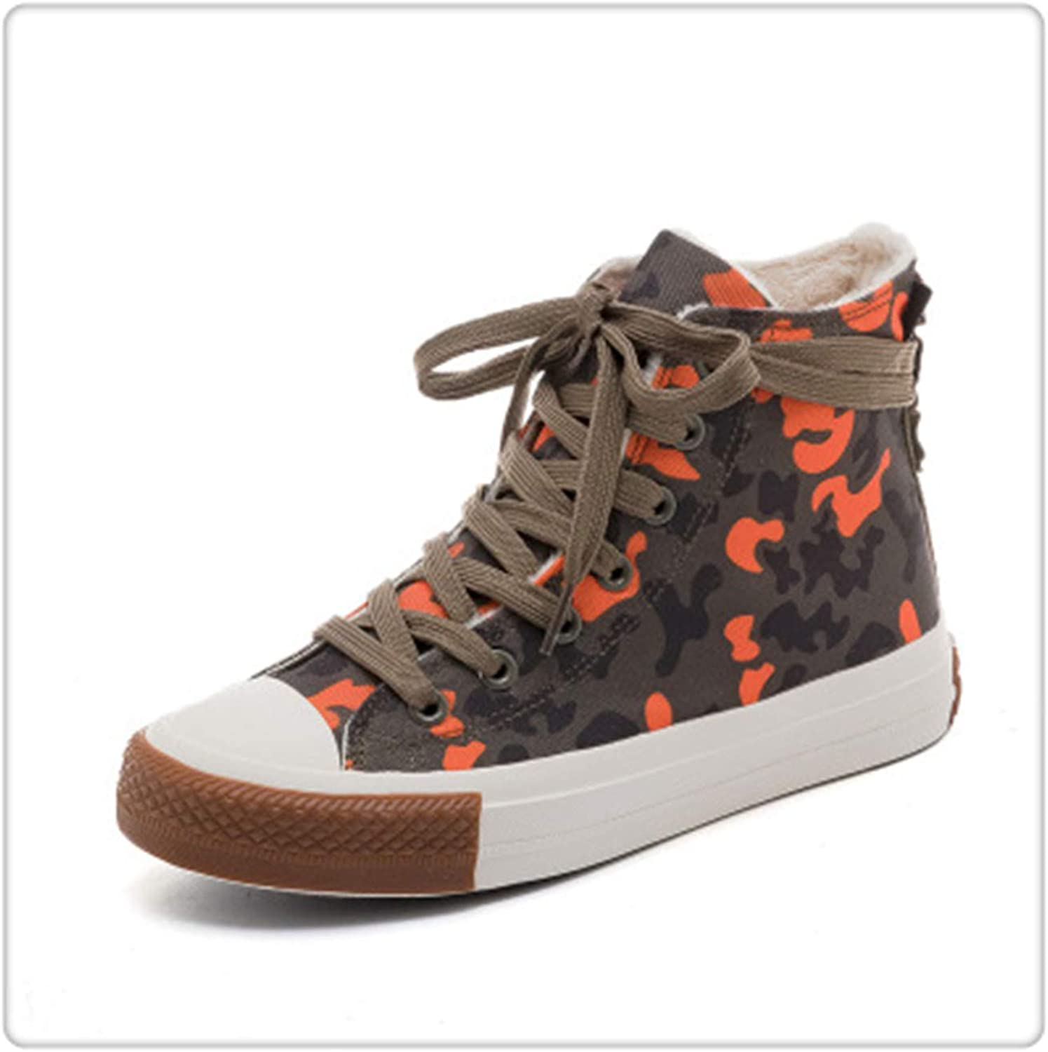 GLOPY& 2018 New Women Sneakers Winter Fur Lined Girls Canvas shoes Students Casual shoes Camouflage Lace Up Flat Heel High Tops 35-40 Red 39