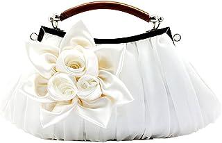 KAXIDY Damen Mädchen Clutch Abendtasche Blumen Satin Handtasche Hochzeit Partei