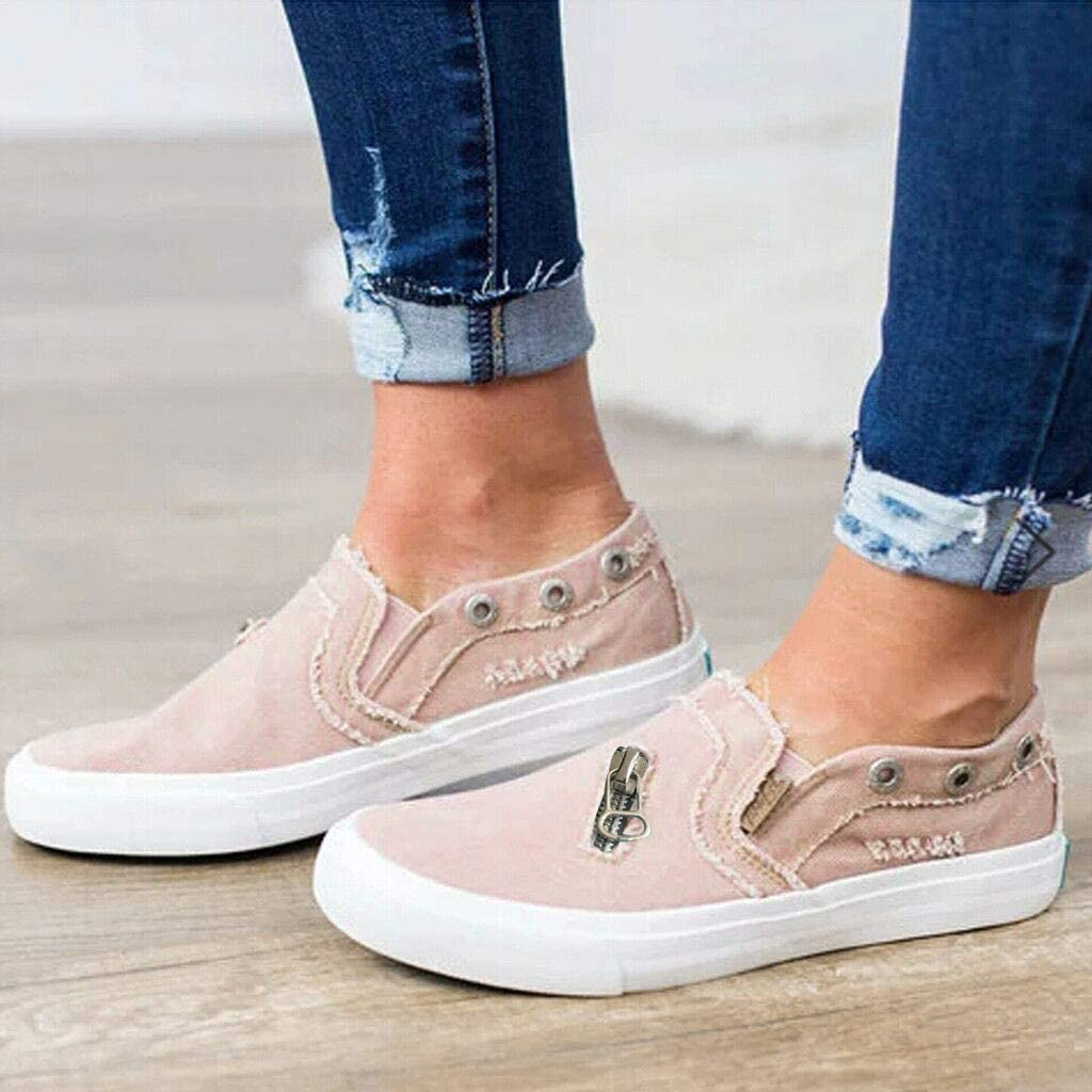 BURFLY Damen einfache Schuhe EIN Pedal Casual Canvas Loafers Jeans Rei/ßverschluss Flache Faule Schuhe