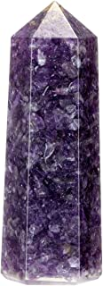 """CrystalTears 3.5"""" Natural Amethyst Healing Crystal Wand 6 Faceted Hexagonal Crystal Points Polished Tumbled Stone Wands fo..."""