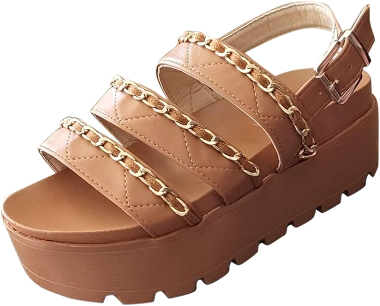 FAMOORE Ladies Summer Fashion Plus Size One-Line Rhinestone Casual Flat Sandals