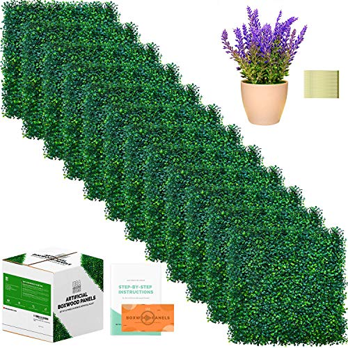 """Outdoor Privacy Screen, Artificial Boxwood Fence Panels - 12 Pcs, 20"""" x 20"""" - Backyard Decorations for Party, Grass Wall, Greenery Backdrop - Green Boxwood Hedge Set, Artificial Plant Incl."""