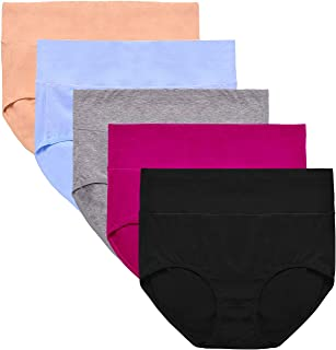 Womens Underwear,Mid Waist No Muffin Top Full Coverage Cotton Brief Ladies Panties Lingerie Undergarments for Women Multipack