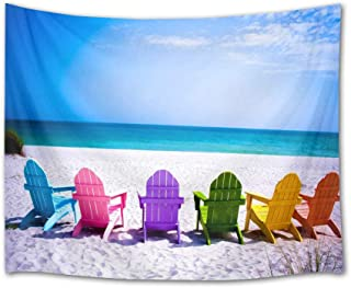HVEST Ocean Tapestry Rainbow Deck Chairs on Tropical Beach Wall Hanging Summer Vacation Tapestries for Bedroom Living Room Dorm Wall Decor Party Backdrop,80Wx60H inches