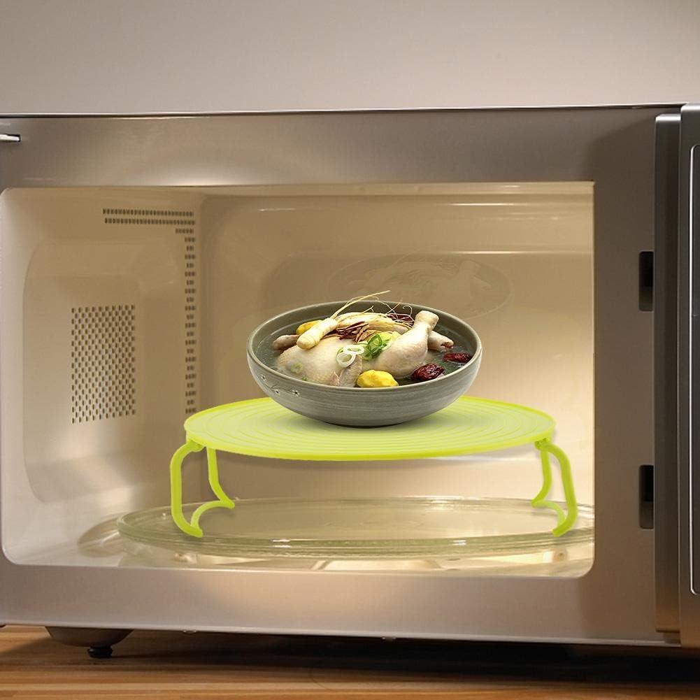 Horno de microondas verde Horno de microondas de pl/ástico multifuncional Calefacci/ón Rejilla de cocci/ón al vapor en capas Rejilla de cocci/ón