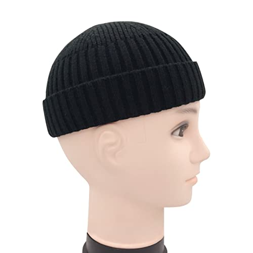 Clecibor Unisex Rollup Edge Knit Skullcap Adjustable Short Beanie for Men  Women 2bf1b6ad91a7