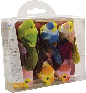 Artemio 13001021 Set de 6 Oiseau Miniature, Papier, Multicolore, 3,7 x 2,5 x 5,3 cm
