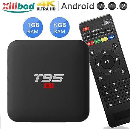 Xilibod T95 S1 TV Box, Android 7.1 TV Box 1GB RAM/8GB ROM, Amlogic S905W Quad Core Soporte 2.4GHz WiFi H.265 4K HDMI DLNA Reproductor Multimedia con Mini Teclado Inalámbrico
