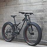 Ruedas de 26 pulgadas, bicicletas de montaña de doble suspensión completa para adultos, cuadro de acero con alto contenido de carbono, horquilla de resorte, freno de disco mecánico,Negro,21 speed