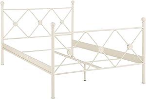 Loft 24 A/S Bett 140x200 cm Metallbett Doppelbett Bettrahmen Metall Eisen Jugendbett Kinderbett Schlafzimmer (weiß lackiert, 140 x 200 cm)