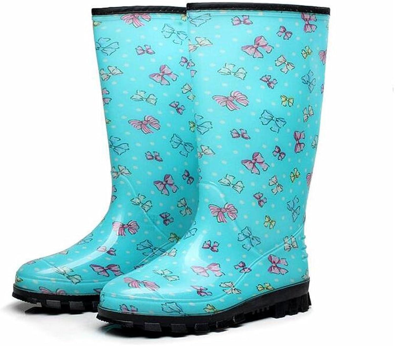 SIHUINIANHUA Damen Hohe Stiefel in der Tube wasserdicht Regen blau, rot, schwarz, Blau, 36  | Verkaufspreis  | Exquisite (in) Verarbeitung  | Exquisite Verarbeitung
