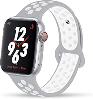 YC YANCH Compatible for Apple Watch Band 38mm 40mm 42mm 44mm, Soft Silicone Sport Band Replacement Wrist Strap Compatible for iWatch Apple Watch Series 5/4/3/2/1,Nike+,Sport,Edition, S/M M/L Size