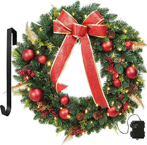 OasisCraft 24' Christmas Wreath Spruce Red Wreath Front Door with Pine Cones, Berries -50 LED Lights