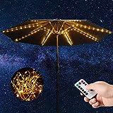 Luces de Cadena de Sombrilla de Patio, 104 LEDs de Alta Luminosidad 8 Modos Luz de Sombrillas sin Cuerda con Pilas, Luces de Poste Impermeable con Control Remoto al Aire Libre