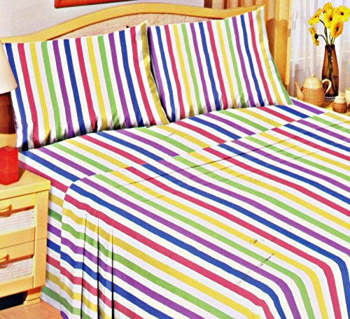 Love2Sleep SOFT THERMAL 100% COTTON FLANNELETTE DUVET COVER CANDY STRIPE - DOUBLE