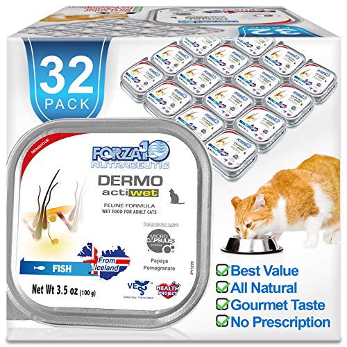 Forza10 Actiwet Dermo Wet Cat Food Skin Condition Formula 3.5 oz, 32 Can Case, Canned Cat Food...