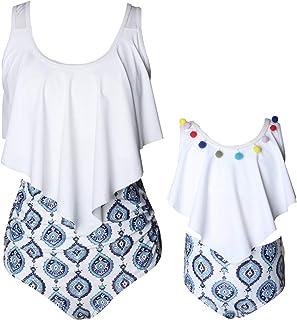 2Pcs Mommy and Me Matching Family Swimsuit Ruffle Women Swimwear Kids Children Toddler Bikini Bathing Suit Beachwear Sets
