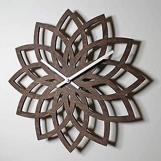 GZJDZ Wall Clock Natural Peach Wooden Lotus Modern Wall Clock Creative Flower Wall Log Quartz Clock Mute
