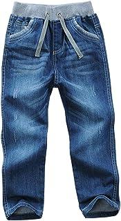 AFirst Pantalones de mezclilla para niños, con cordón elástico en la cintura ajustada, lavado de longitud completa, pantal...