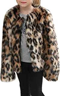 Moonker Girls Coat 3-8 Years Old,Toddler Girls Kids Autumn Winter Warm Clothes Faux Fur Leopard Thick Jacket Outwear